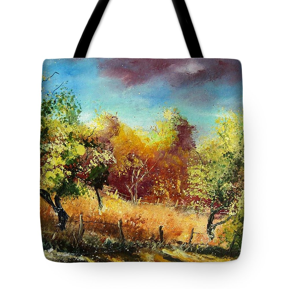Flowers Tote Bag featuring the painting Orchard by Pol Ledent