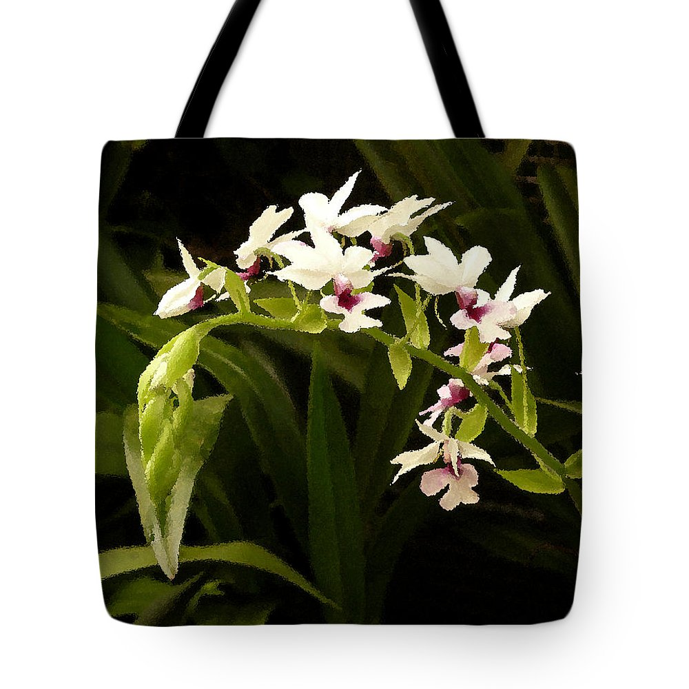 Orchid Tote Bag featuring the digital art Orchid 3 by Peg Owens