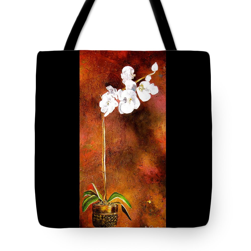 Orchid Painting Tote Bag featuring the painting Orchid 4 by Laura Pierre-Louis