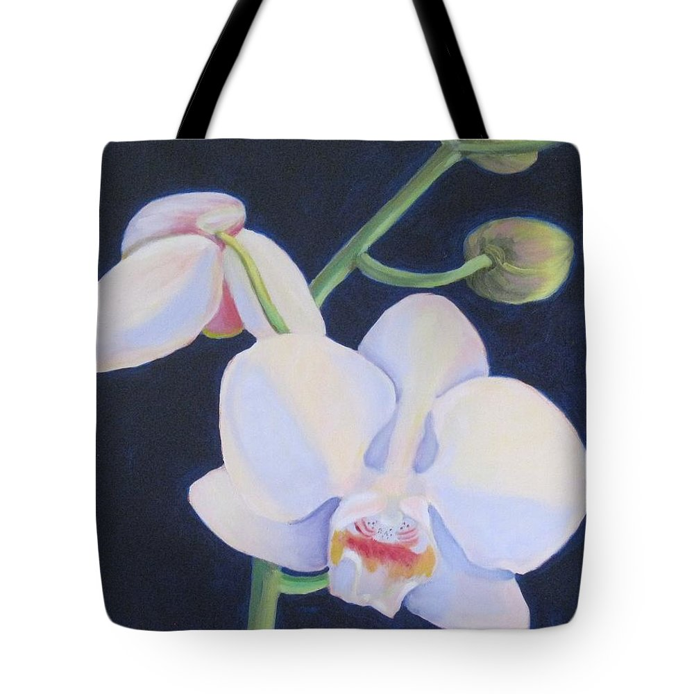 Orchid Tote Bag featuring the painting Orchid In Blue by Nancy Camm