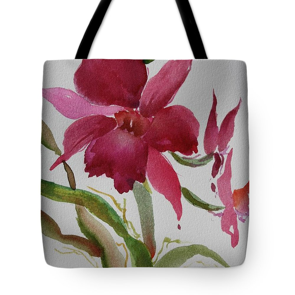 Zen Tote Bag featuring the painting Orchid Morning by Tara Moorman
