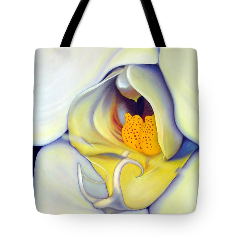 Orchid Tote Bag featuring the painting Orchid Mouth by Anni Adkins