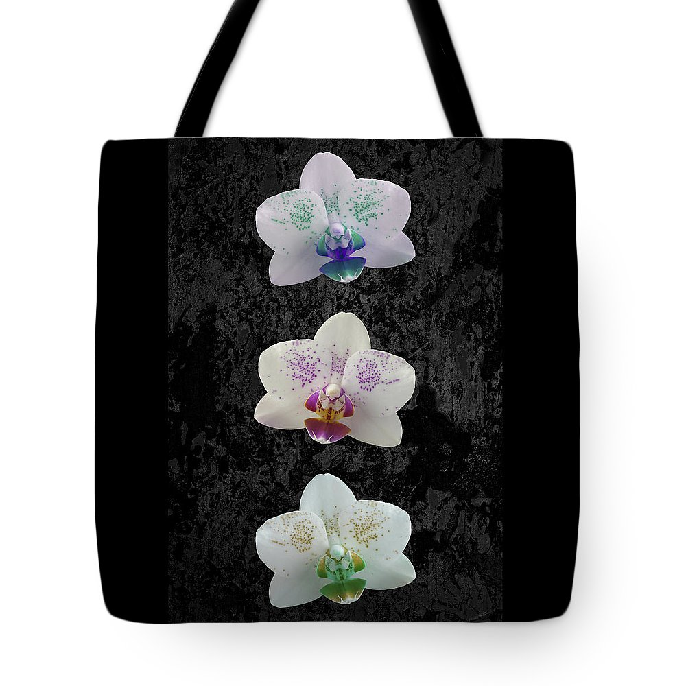Orchid Tote Bag featuring the photograph Orchid Trio by Hazy Apple