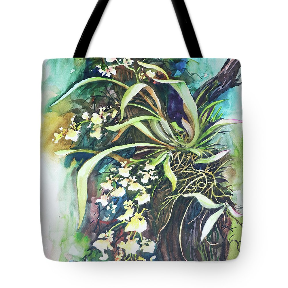 Landscape Tote Bag featuring the painting Orchid by Win Min Mg