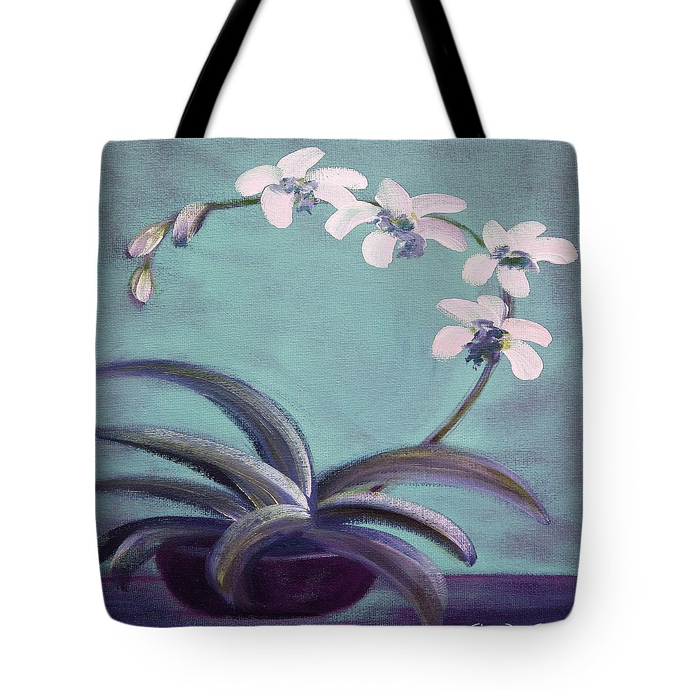 White Tote Bag featuring the painting Orchids 5 by Gina De Gorna