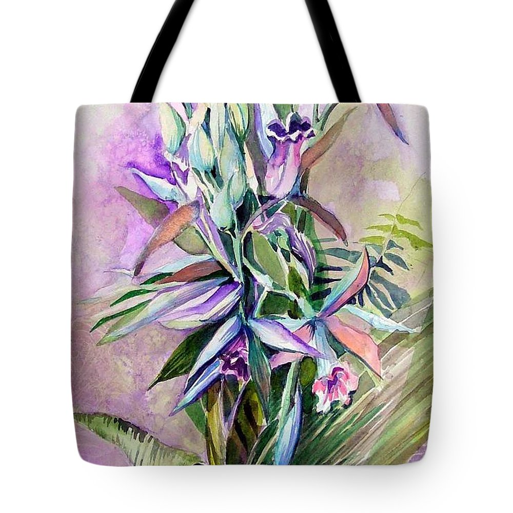 Orchids Tote Bag featuring the painting Orchids- Botanicals by Mindy Newman