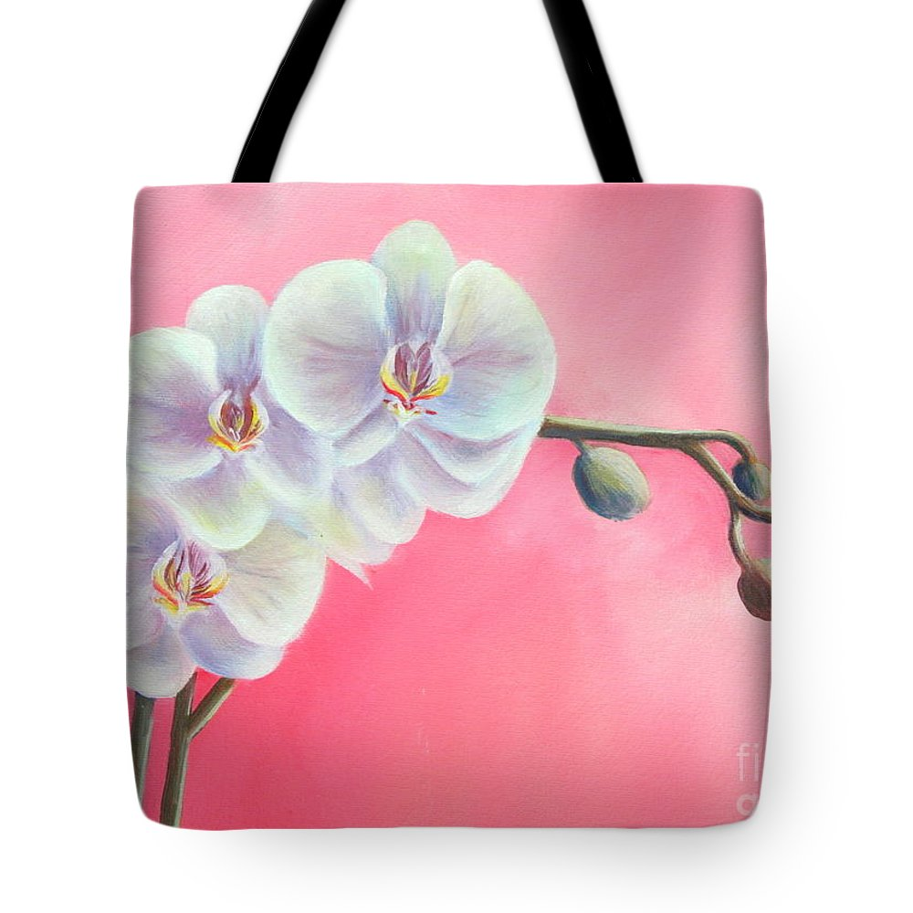 Orchids Paintings And Prints Tote Bag featuring the painting Orchids by Gabriela Valencia