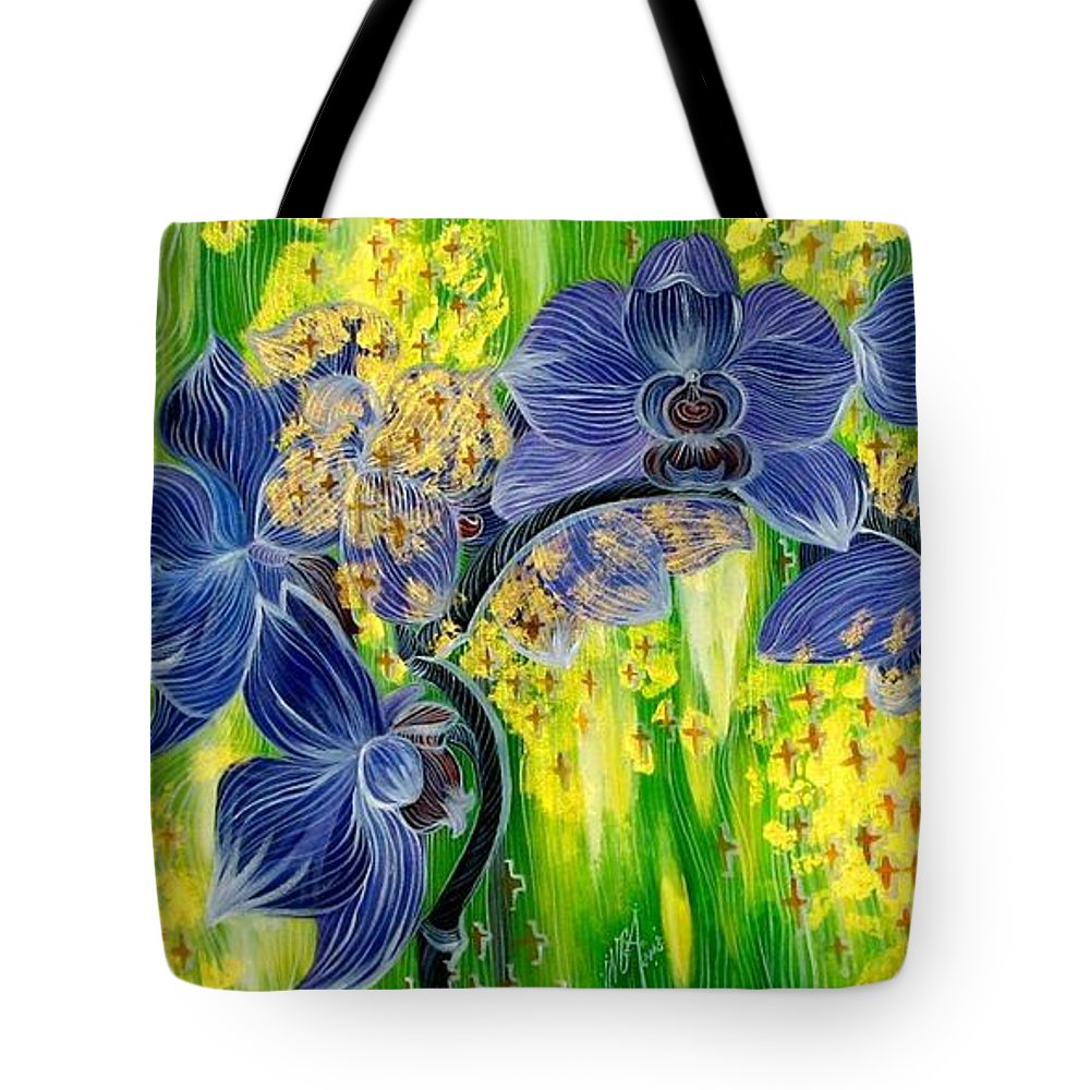 Inga Vereshchagina Tote Bag featuring the painting Orchids In A Gold Rain by Inga Vereshchagina