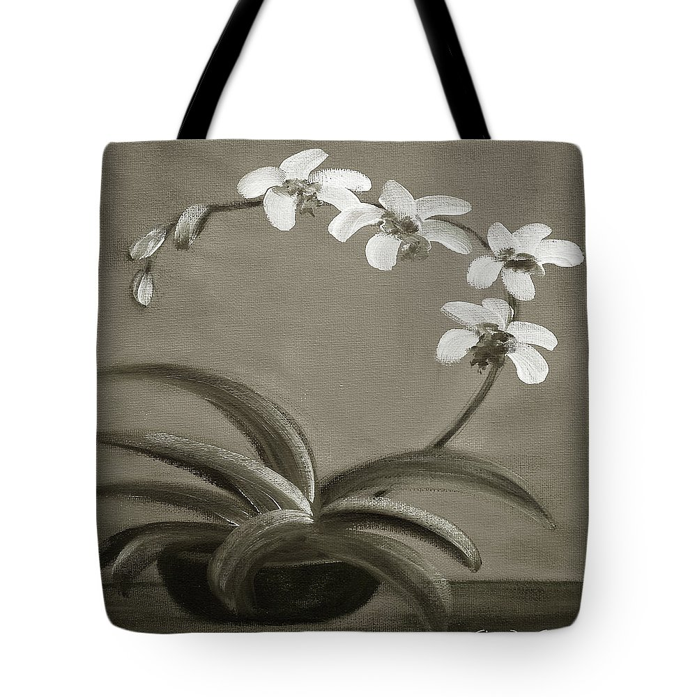 White Tote Bag featuring the painting Orchids In Black And White by Gina De Gorna