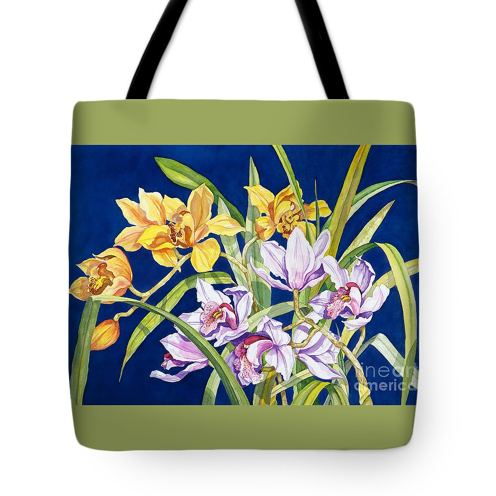 Orchids Tote Bag featuring the painting Orchids In Blue by Lucy Arnold