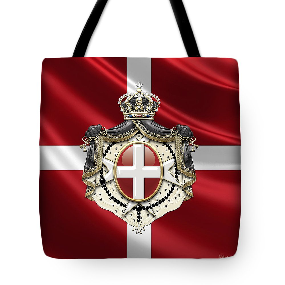 �ancient Brotherhoods� Collection By Serge Averbukh Tote Bag featuring the photograph Order of Malta Coat of Arms over Flag by Serge Averbukh