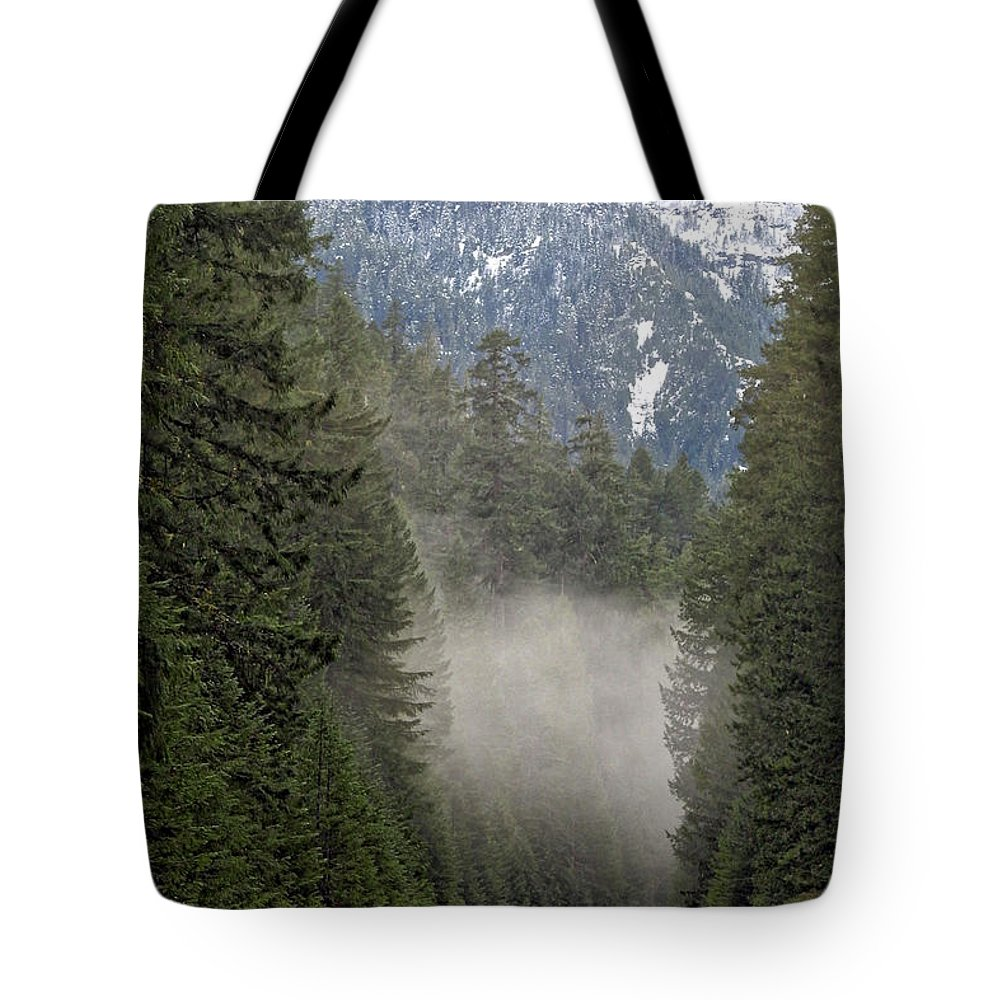 Road Tote Bag featuring the photograph Oregon Highway Mist by Lindy Pollard