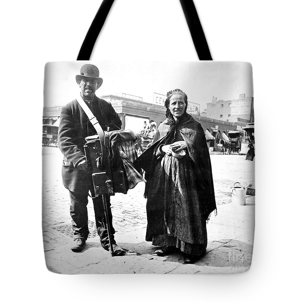 1897 Tote Bag featuring the photograph Organ Grinder, 1897 by Granger