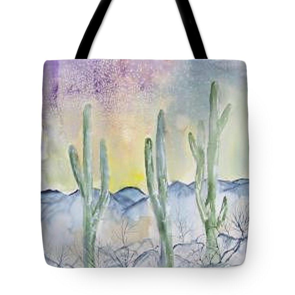 Impressionistic Tote Bag featuring the painting Organ Pipe Cactus Desert Southwestern Painting Poster Print by Derek Mccrea