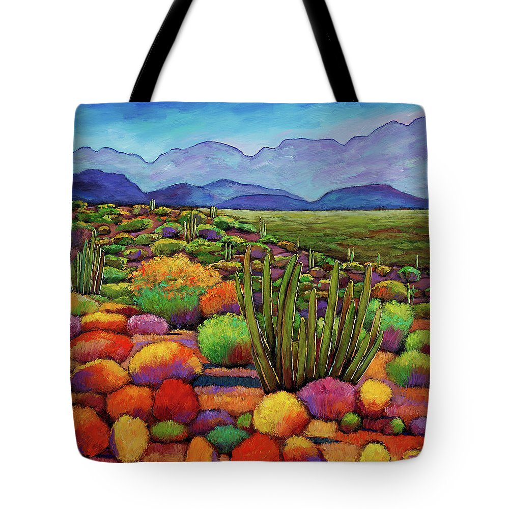 Desert Landscape Tote Bag featuring the painting Organ Pipe by Johnathan Harris