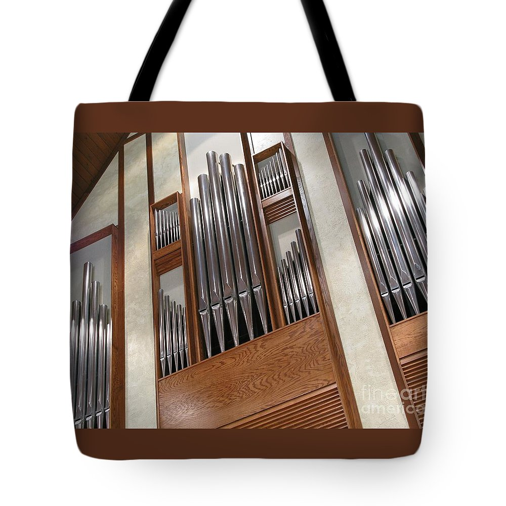 Music Tote Bag featuring the photograph Organ Pipes by Ann Horn