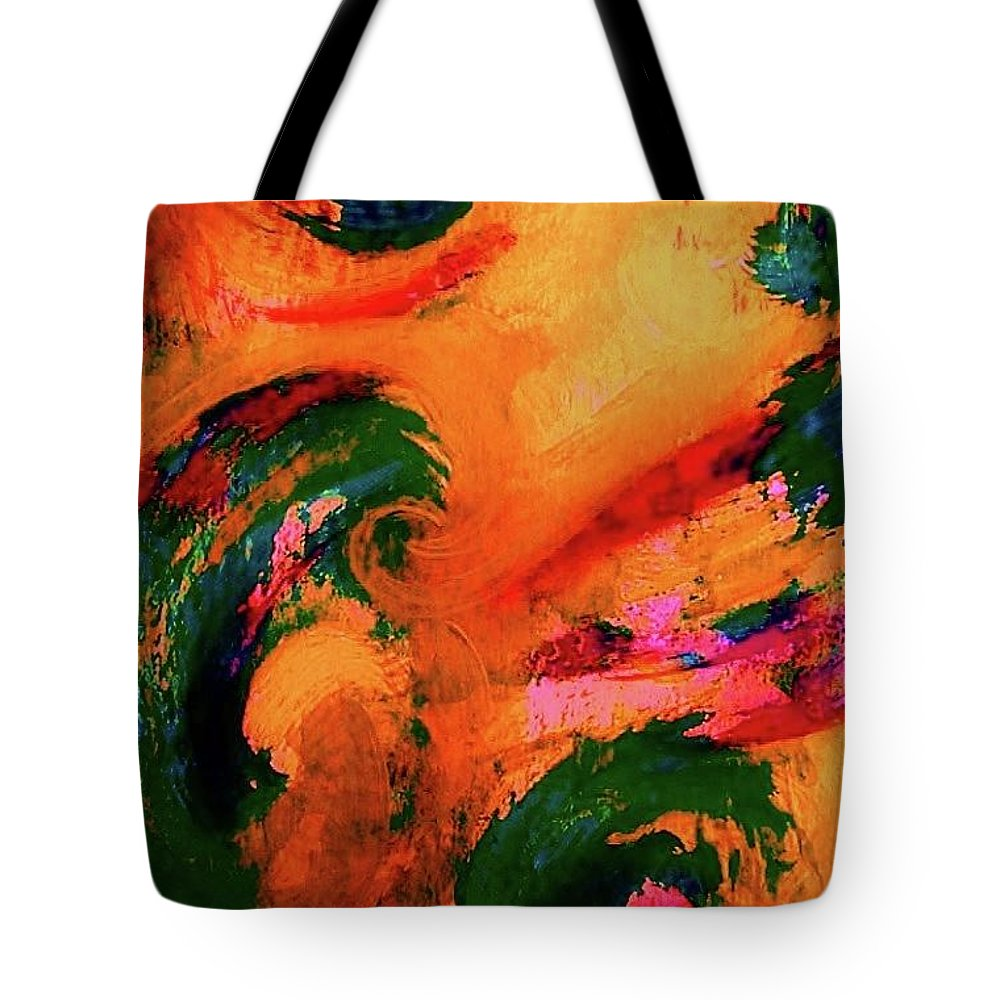 Abstract Tote Bag featuring the painting Organic Clash by Diana Dearen