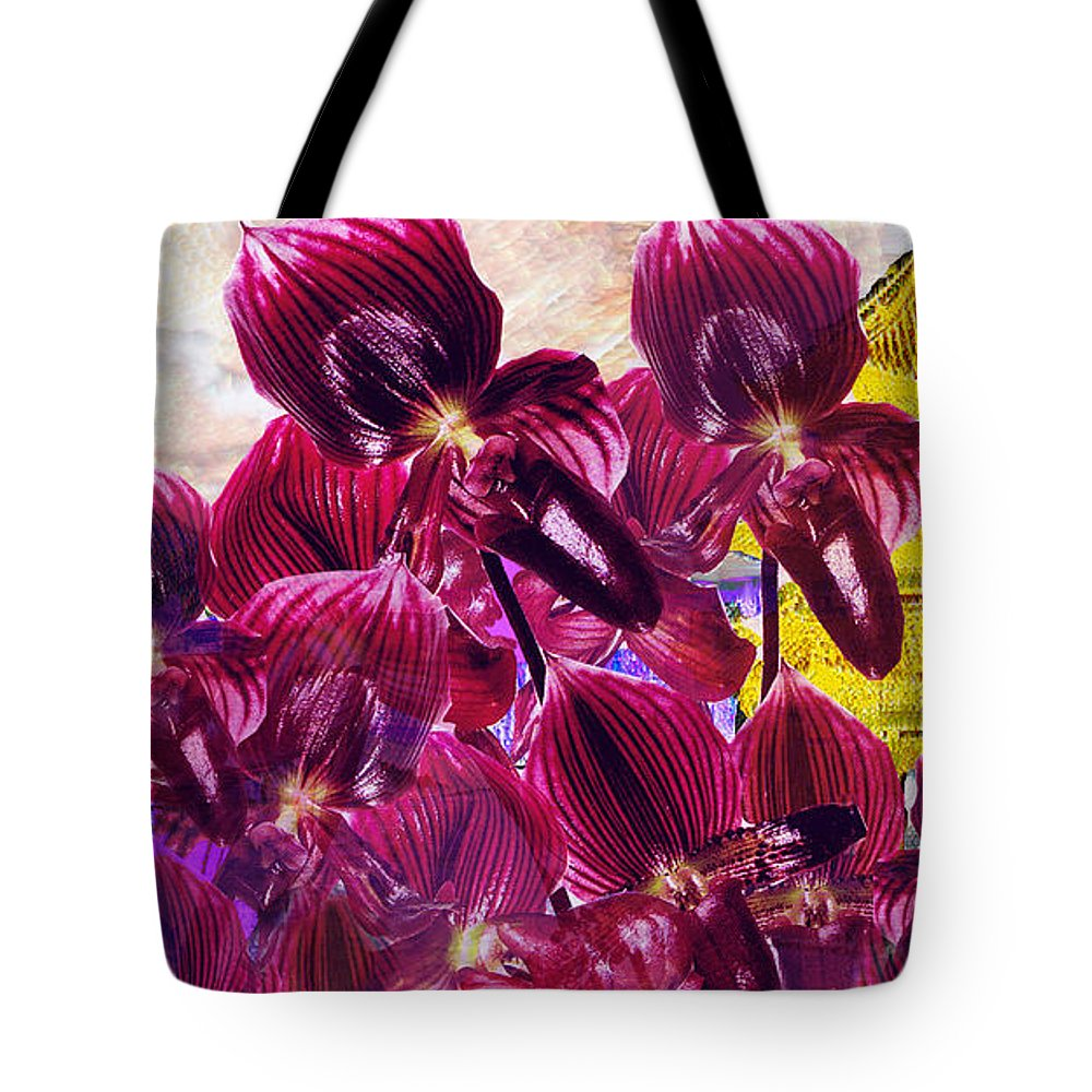 Far East Tote Bag featuring the digital art Oriental Orchid Garden by Seth Weaver