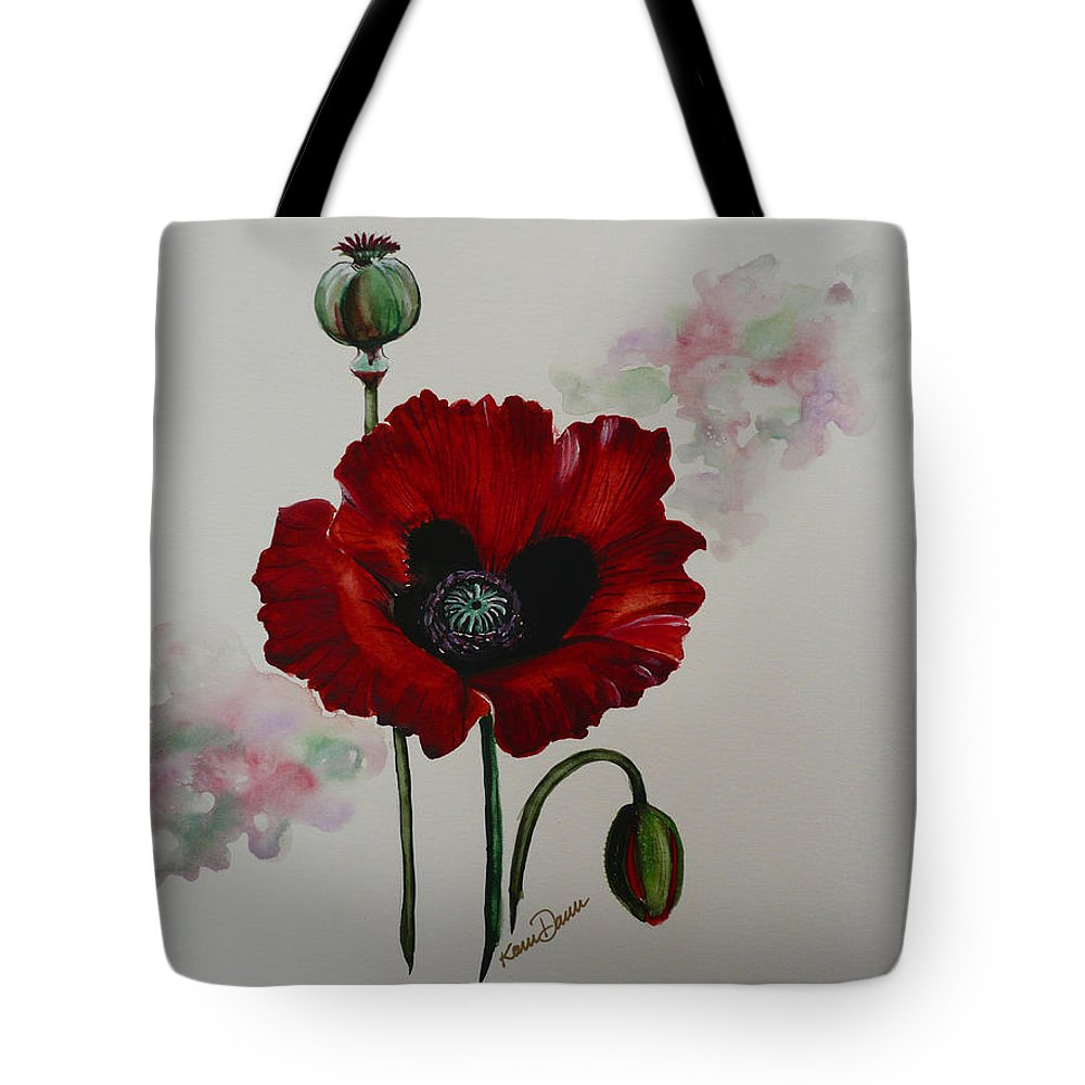 Floral Poppy Red Flower Tote Bag featuring the painting Oriental Poppy by Karin Dawn Kelshall- Best