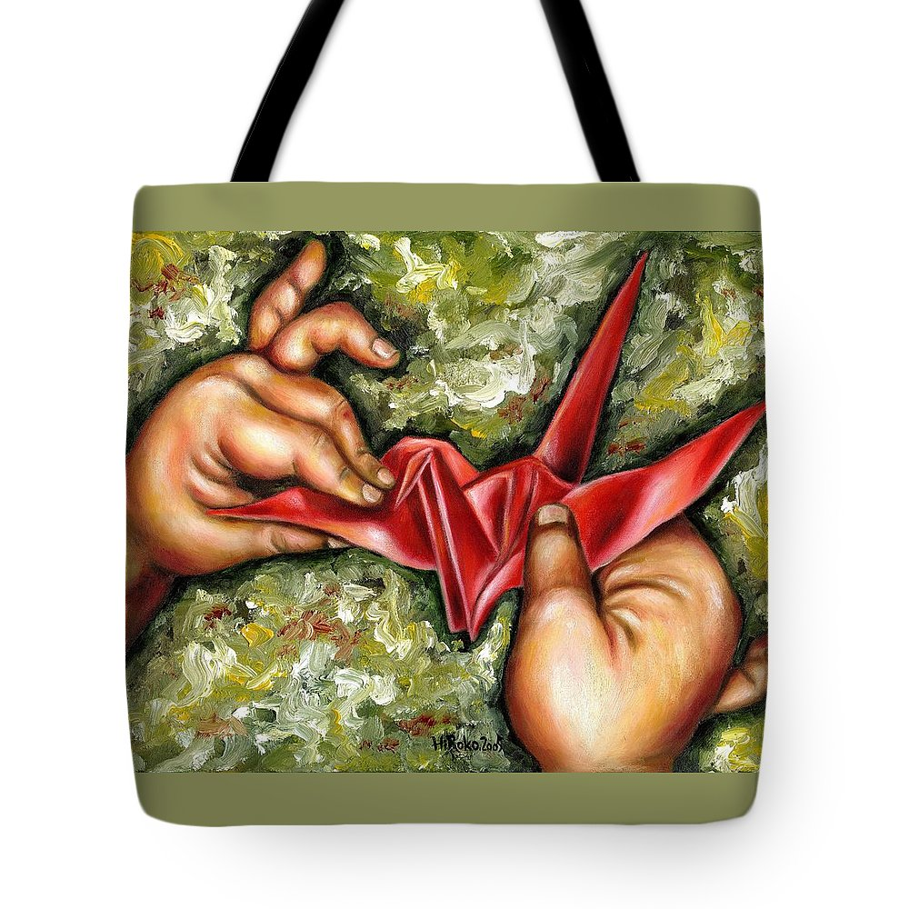 Japanese Tote Bag featuring the painting Origami by Hiroko Sakai