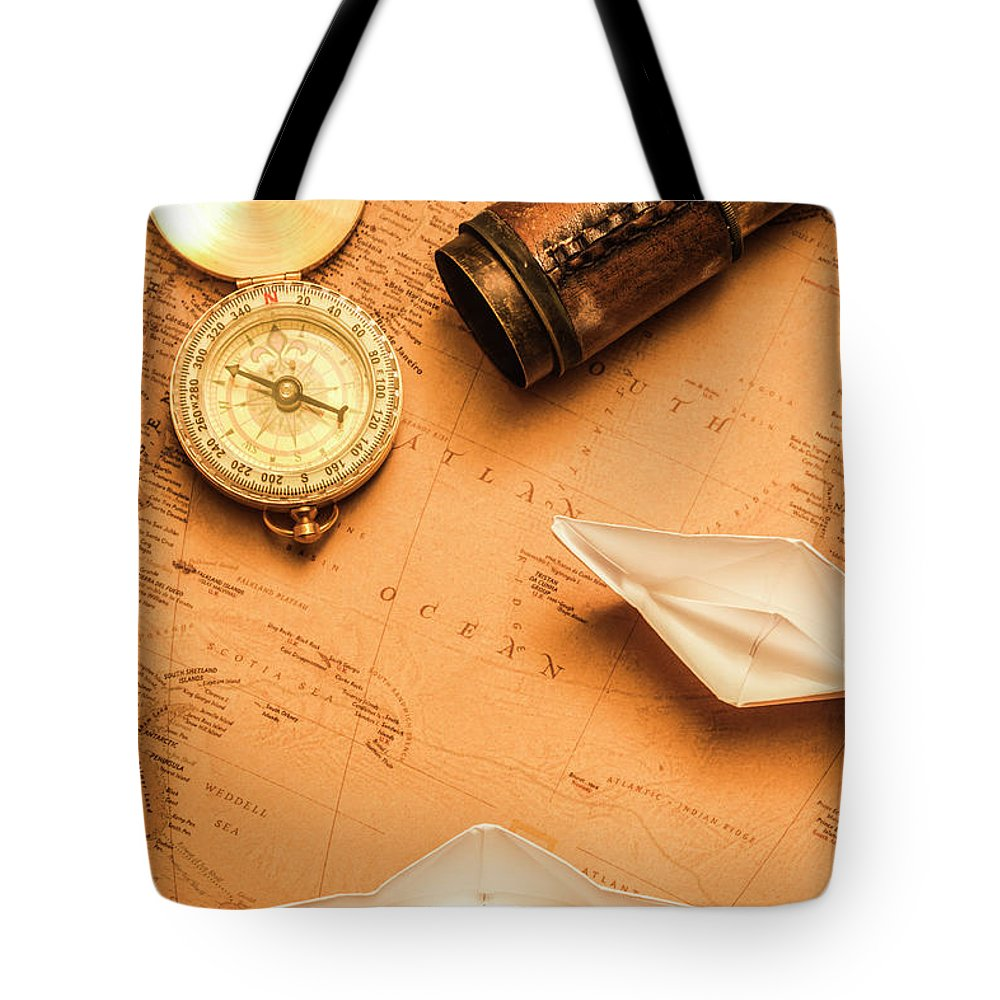 Boat Tote Bag featuring the photograph Origami Paper Boats On A Voyage Of Exploration by Jorgo Photography - Wall Art Gallery