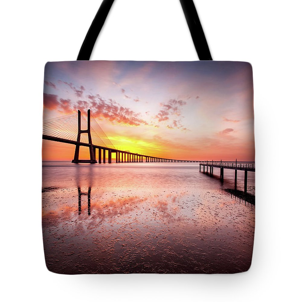 Lisbon Tote Bag featuring the photograph Origin by Jorge Maia