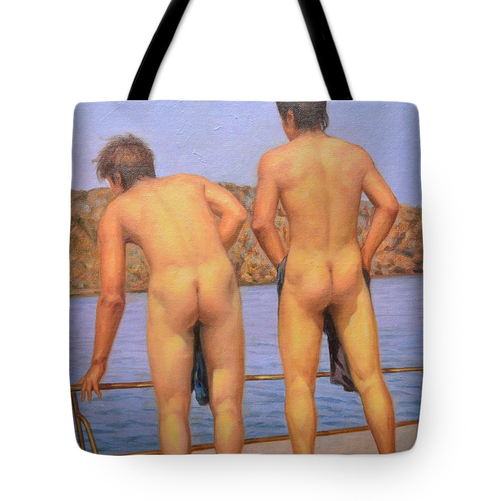 Original Art Tote Bag featuring the painting Original Oil Painting Art Male Nude Gay Interest Boy Man On Linen#16-2-5-12 by Hongtao   Huang