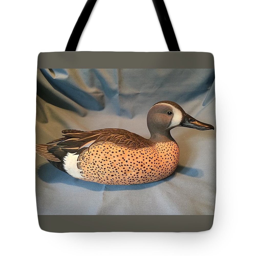 Sculpture Tote Bag featuring the mixed media Original Blue Winged Teal Sculpture by Don Bassett