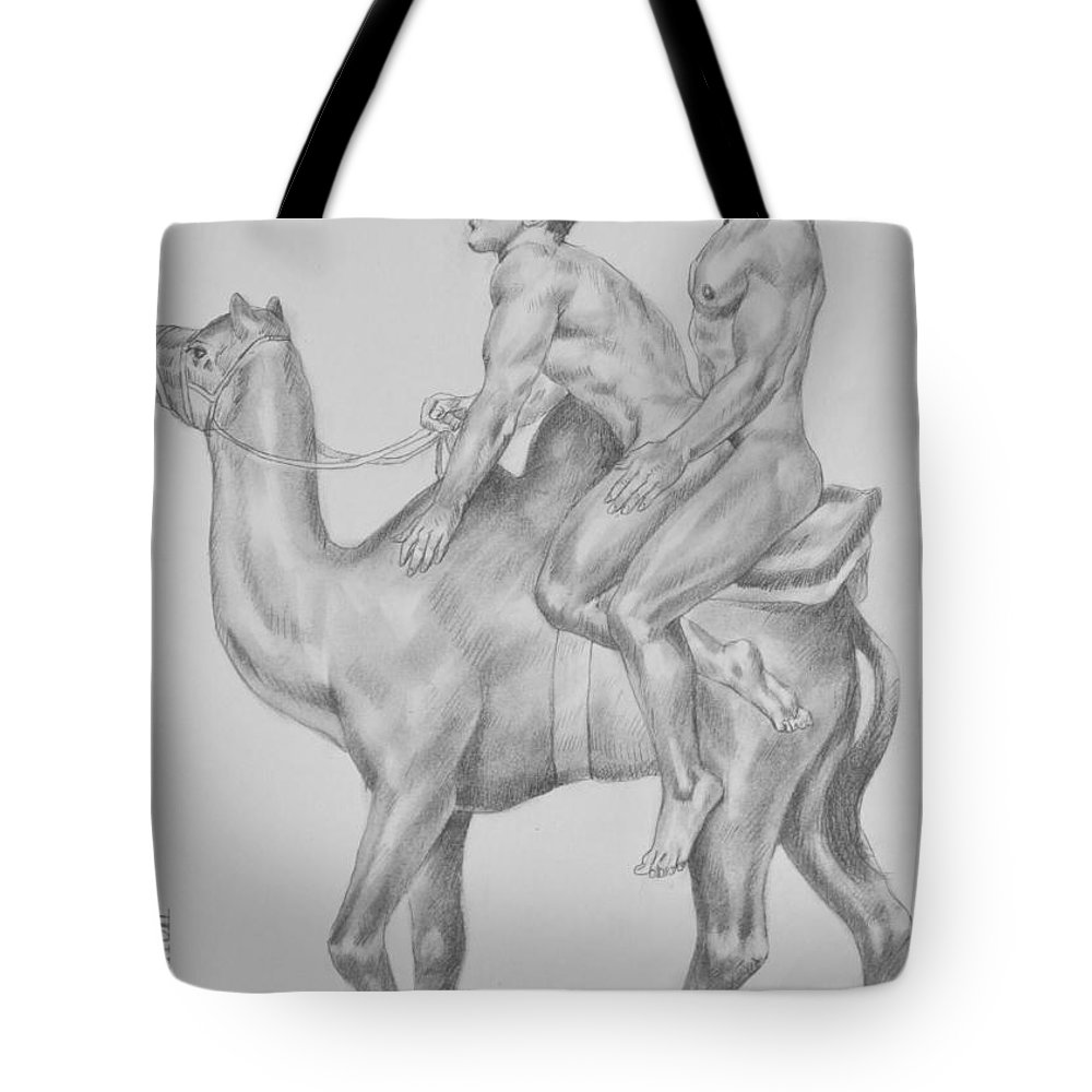 Original artwork tote bag featuring the drawing original charcoal pencil drawing male nude gay interest man