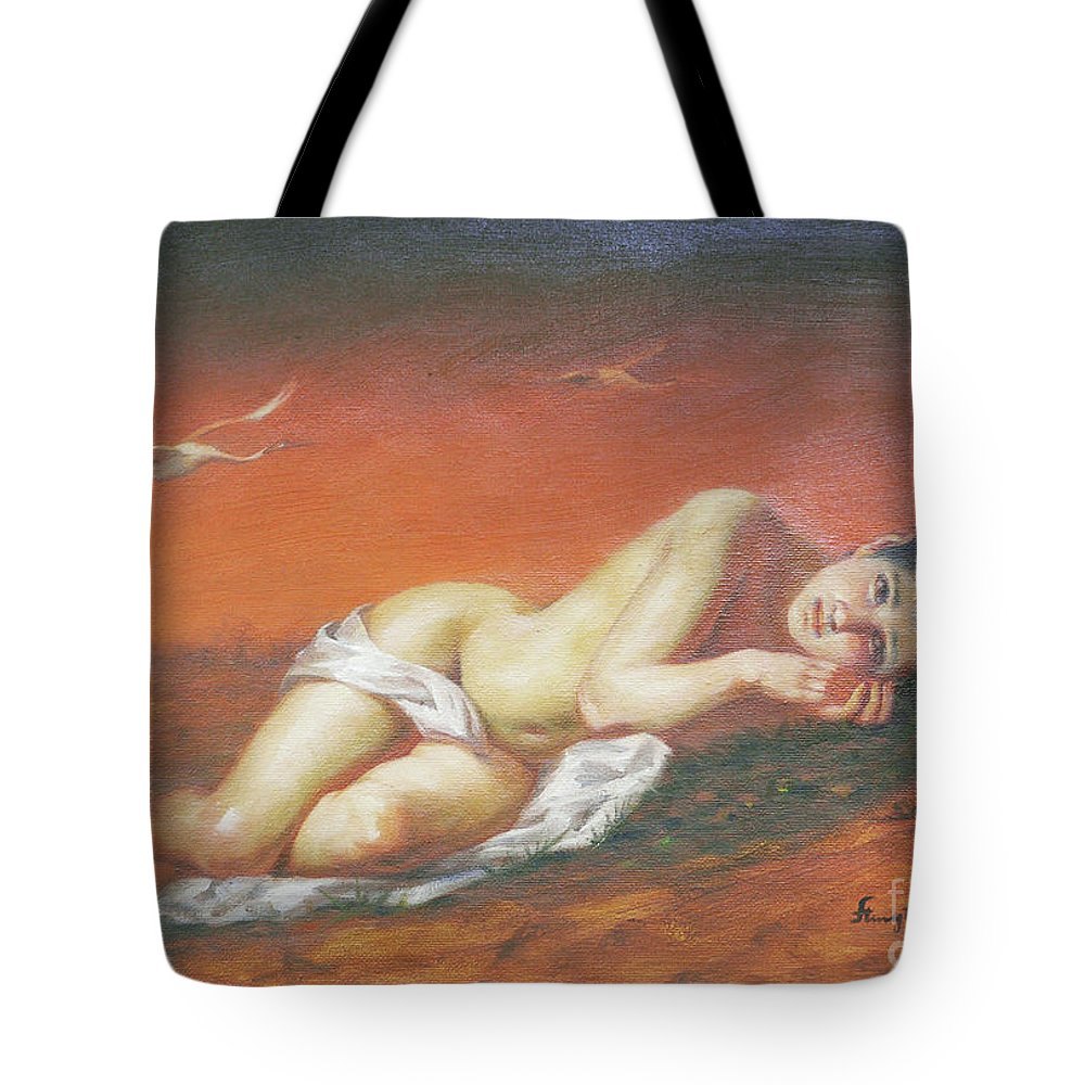 Original Tote Bag featuring the painting Original Classic Oil Painting Red-crowned Crane On Linen #16-2-5-46 by Hongtao Huang