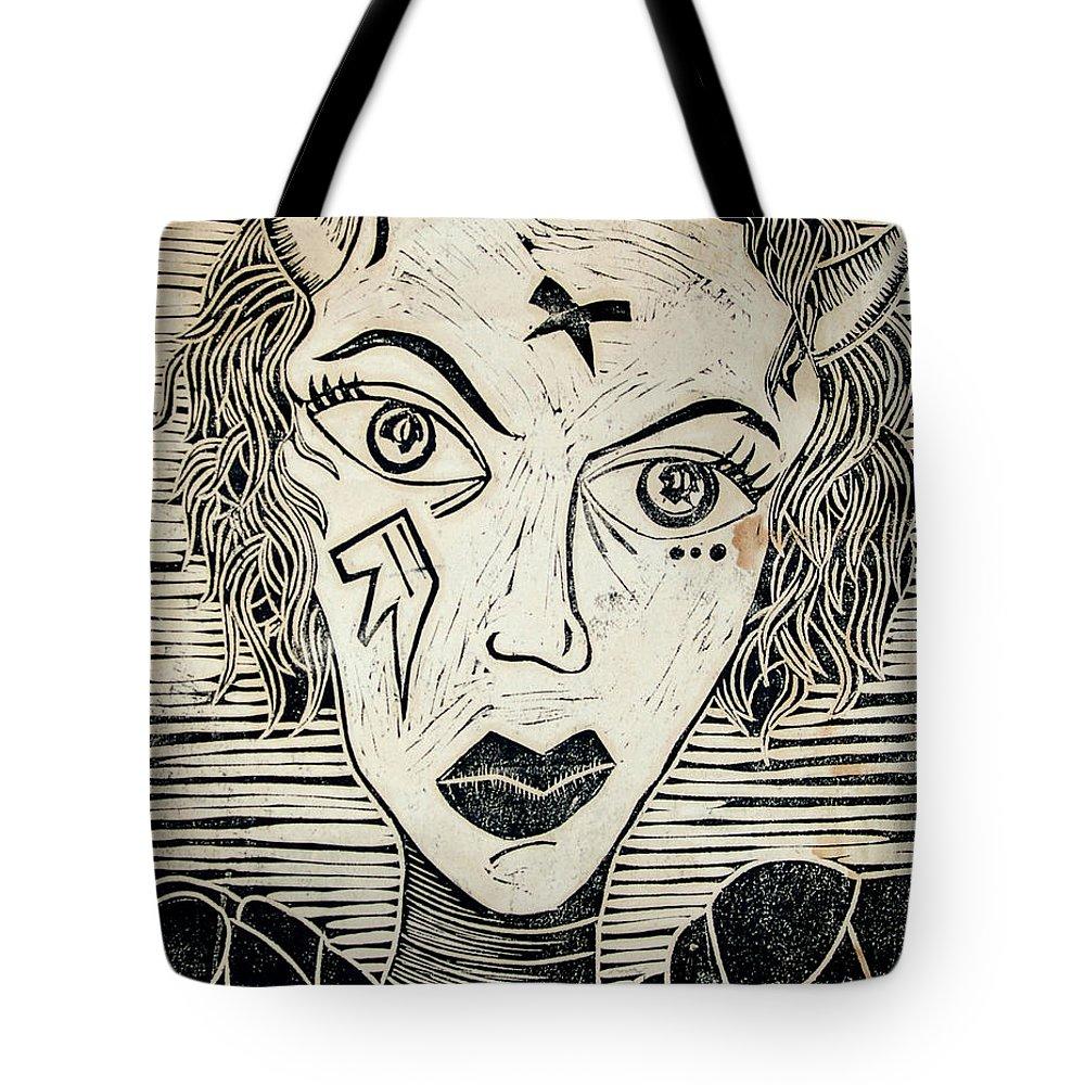 Block Print Tote Bag featuring the print Original Devil Block Print by Thomas Valentine
