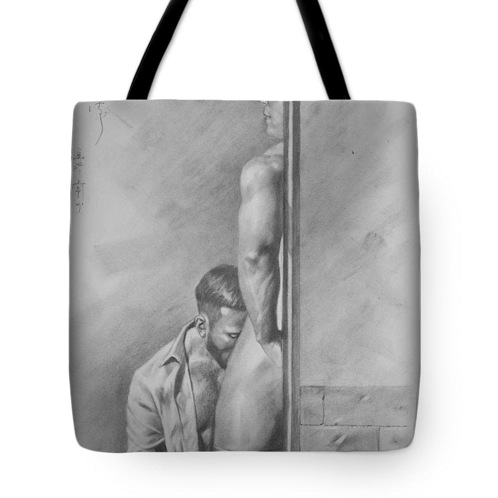 Original drawing sketch charcoal gay interest man body art pencil on paper 0075 tote bag
