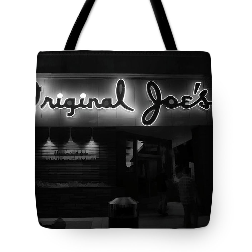 Architecture Tote Bag featuring the photograph Original Joe's San Jose Bw by Chuck Kuhn