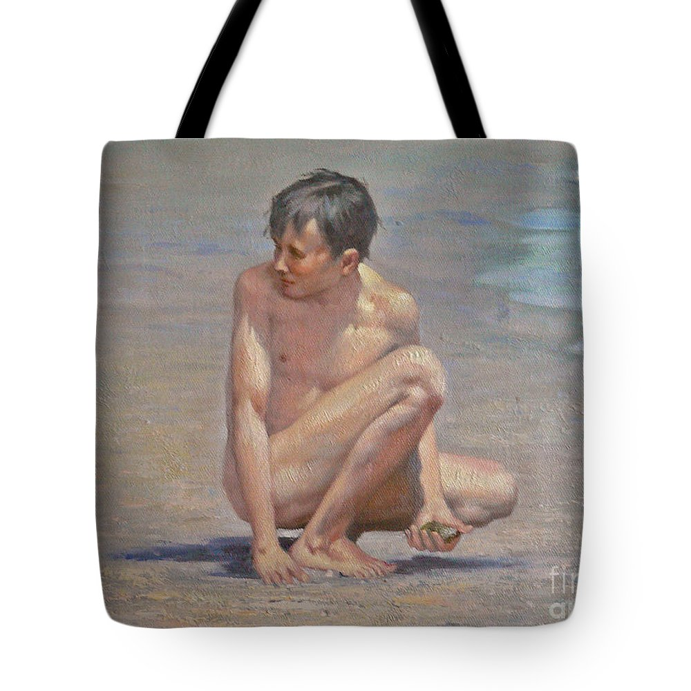 Art Tote Bag featuring the painting Original Oil Painting Art Male Nude Gay Boy On Linen#16-2-5-09 by Hongtao   Huang