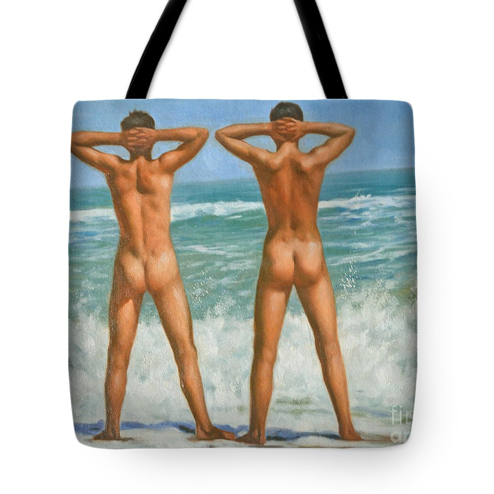 Original Art Tote Bag featuring the painting Original Oil Painting Male Nude Gay Interest Art By Seasid On Canvas #16-2-5-0-10 by Hongtao   Huang