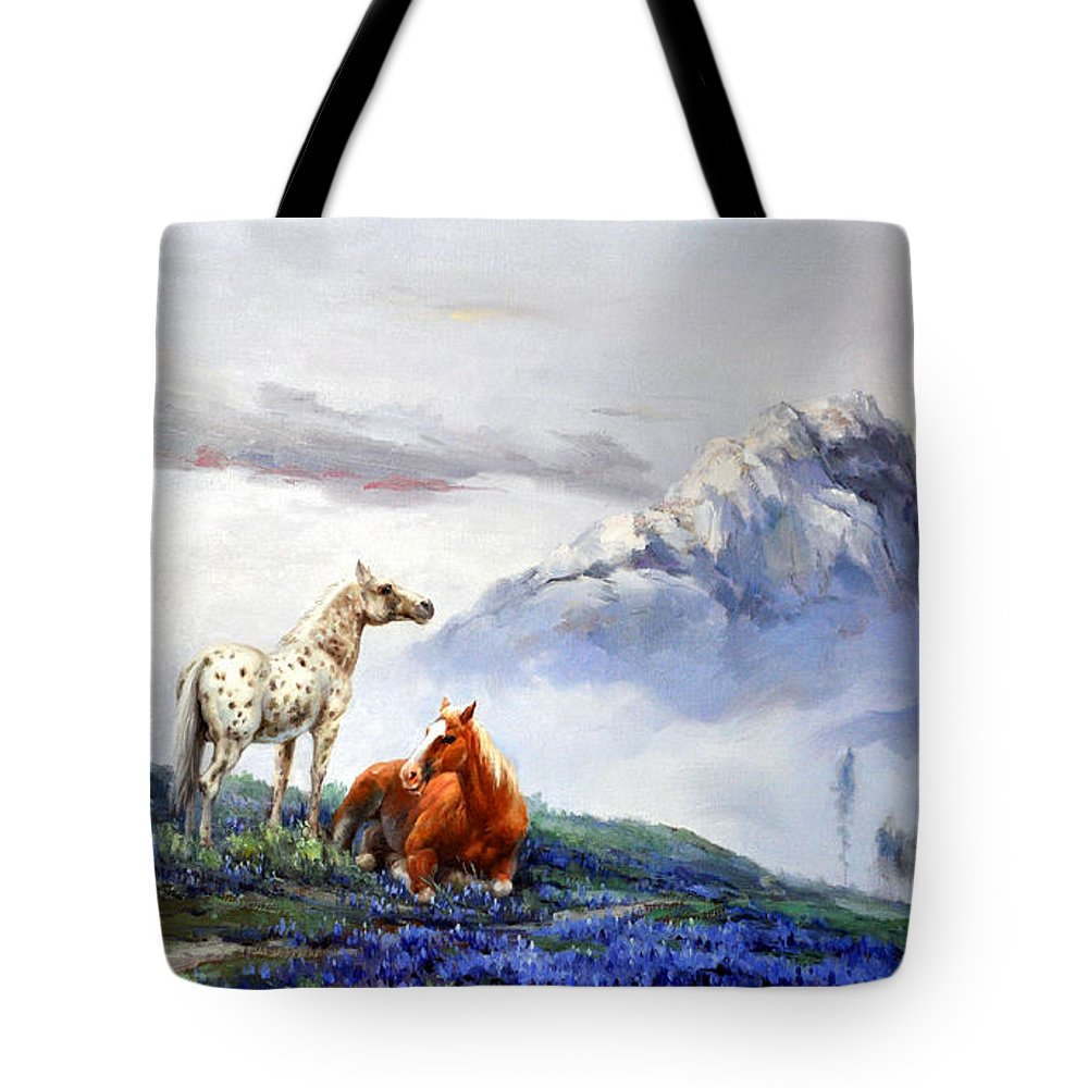Horse Tote Bag featuring the painting Original Oil Painting On Canvas Two Horses by Chunliang Hu