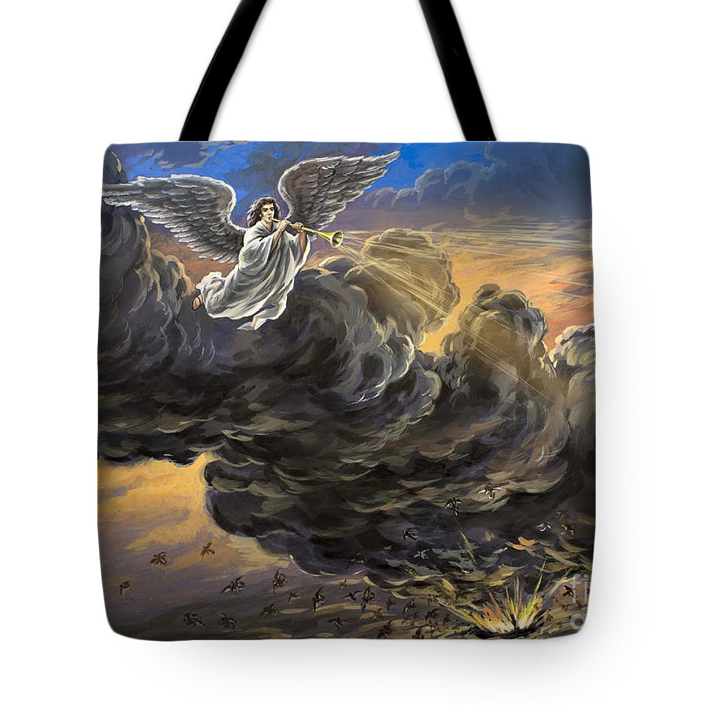 Fifth Trumpet Angel Tote Bag featuring the painting Fifth Trumpet Angel by The Decree to Restore Jerusalem