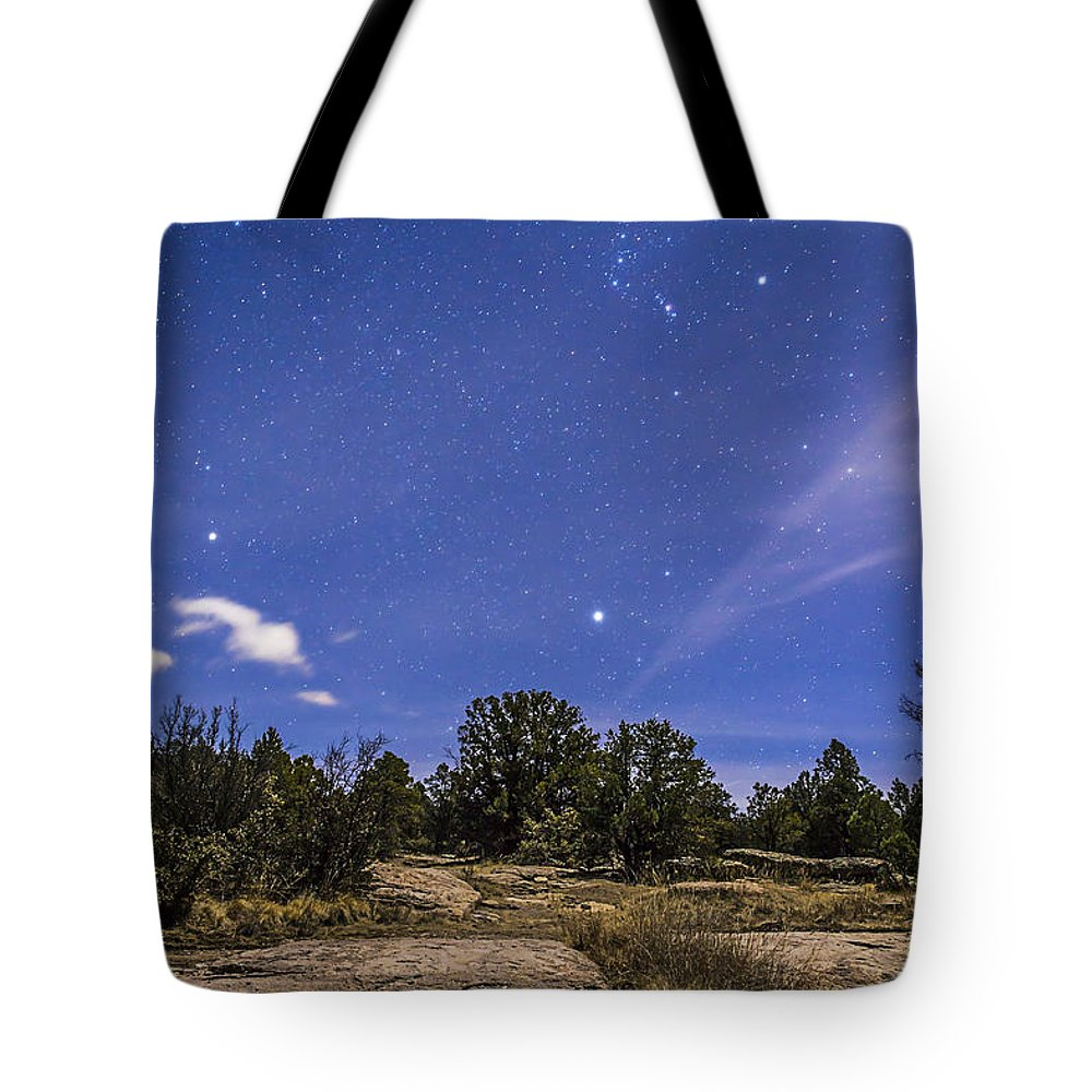 Belt Of Orion Tote Bag featuring the photograph Orion And Sirius Rising by Alan Dyer