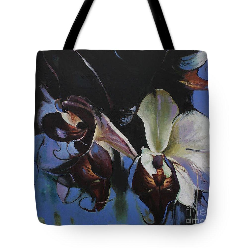 Lin Petershagen Tote Bag featuring the painting Orkidoo by Lin Petershagen