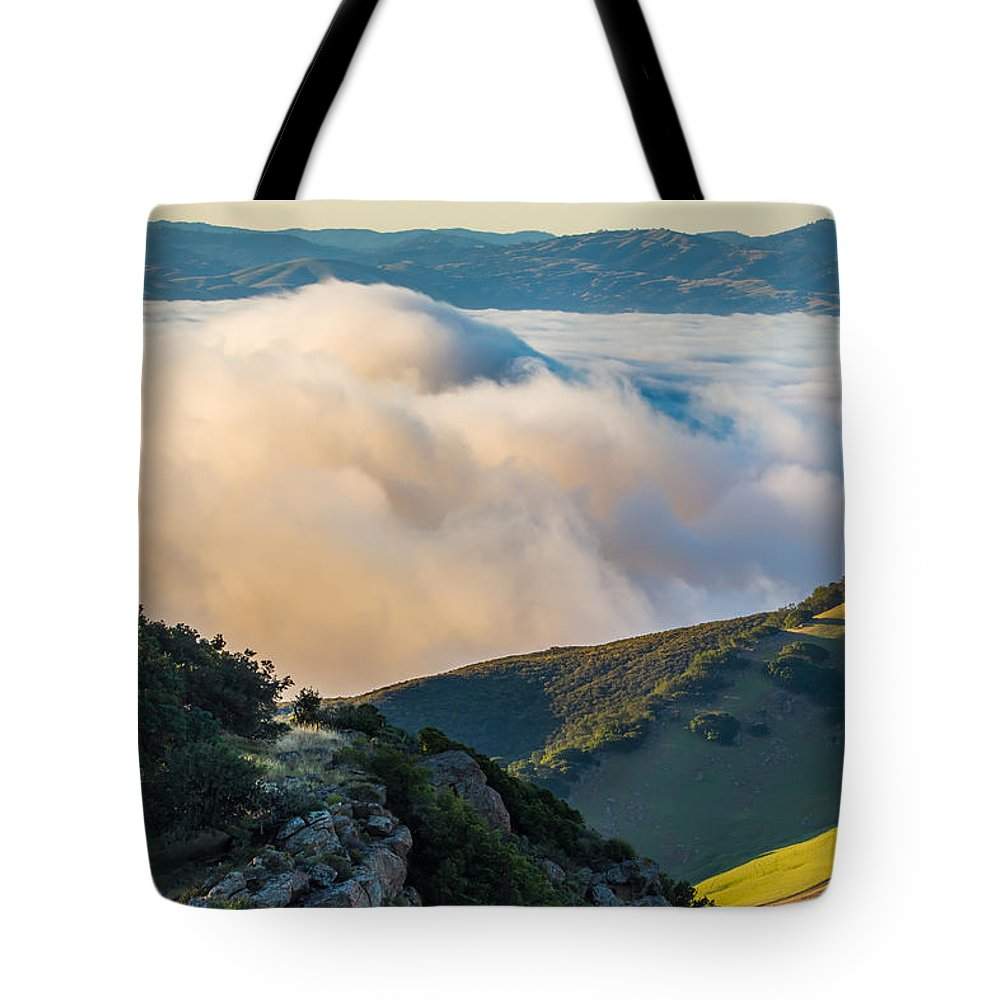 Landscape Tote Bag featuring the photograph Morning Low Clouds And Hills by Marc Crumpler