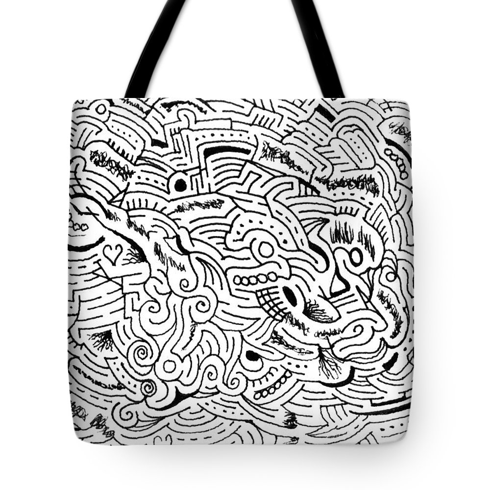 Mazes Tote Bag featuring the drawing Orphic by Steven Natanson