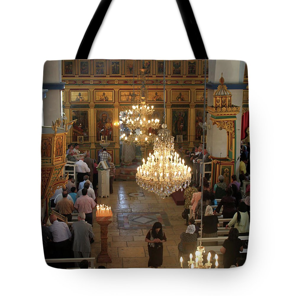 Orthodox Tote Bag featuring the photograph Orthodox Mass by Munir Alawi