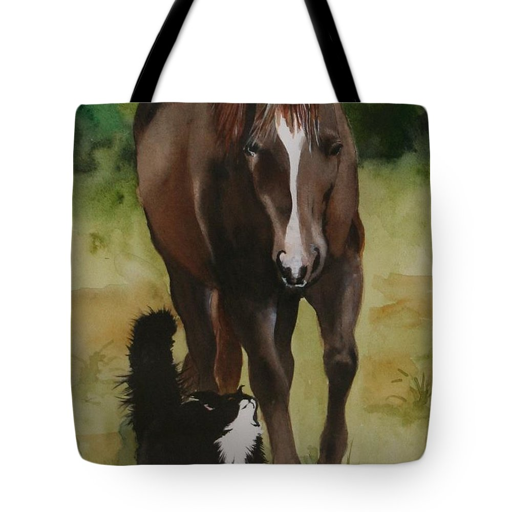 Horse Tote Bag featuring the painting Oscar and Friend by Jean Blackmer