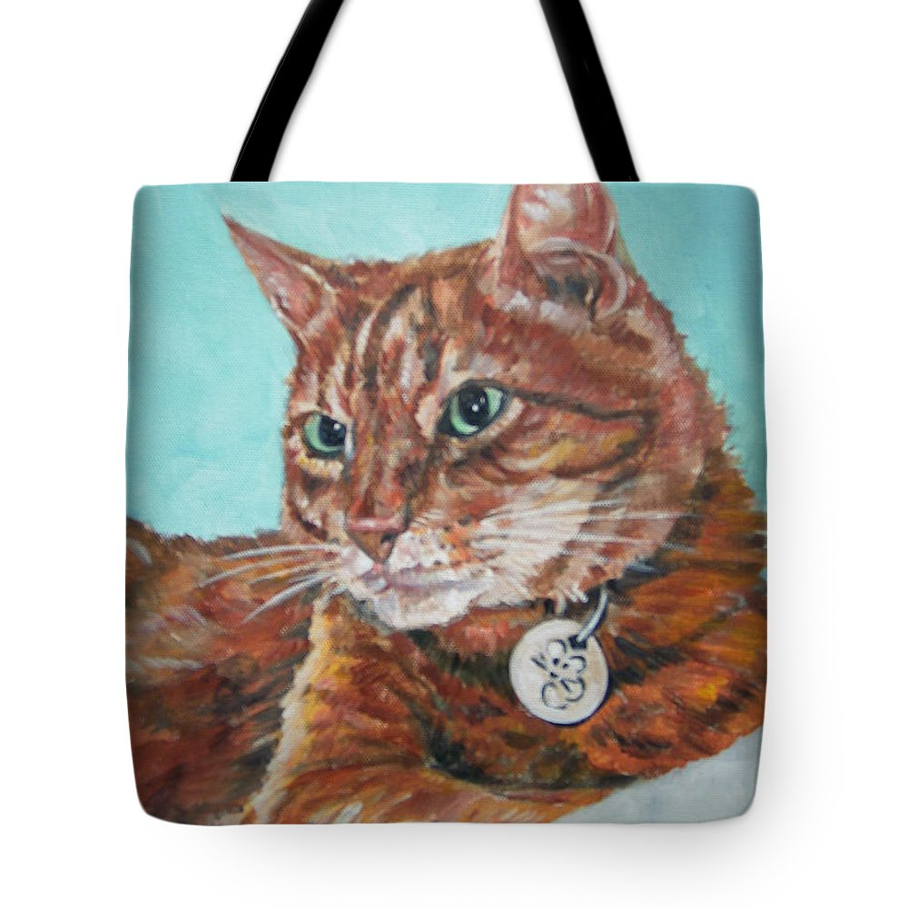 Cat Tote Bag featuring the painting Oscar by Bryan Bustard