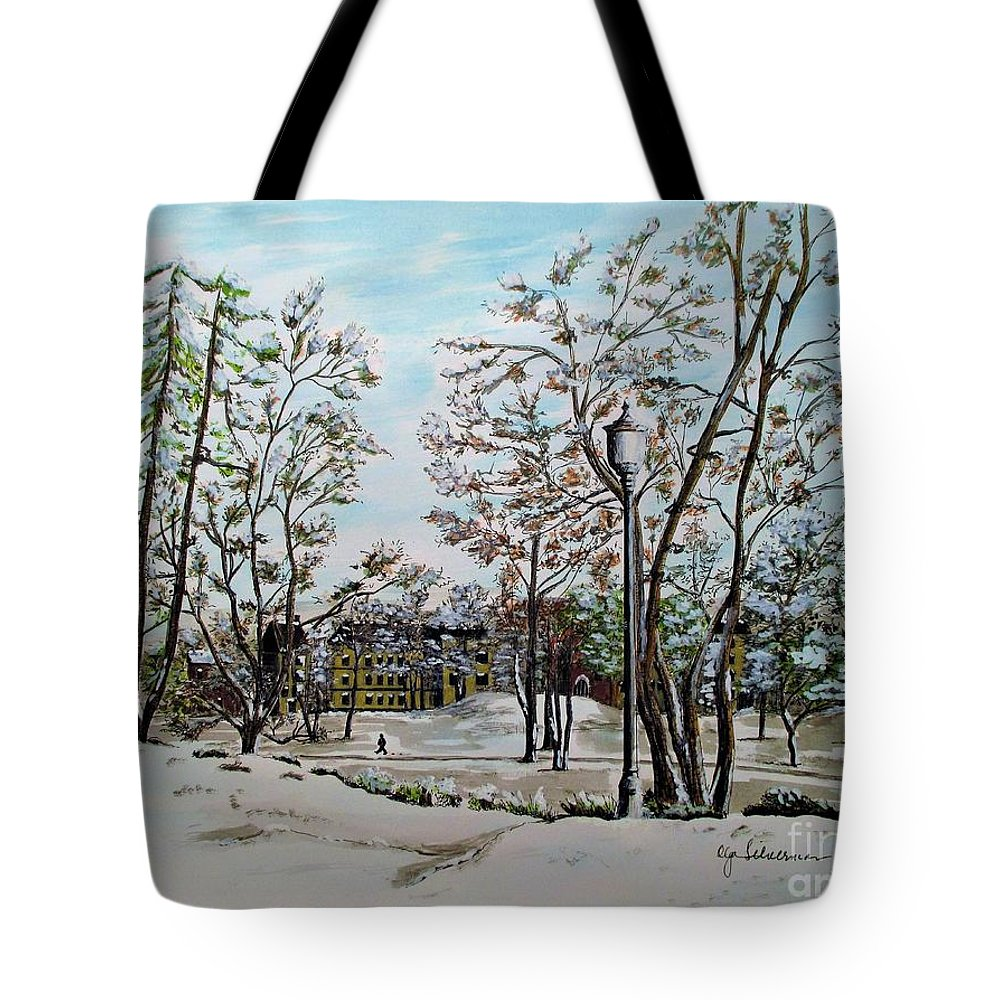 Oslo Tote Bag featuring the painting Oslo In Winter by Olga Silverman