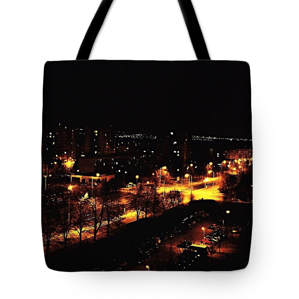 Czech Tote Bag featuring the photograph Ostrava At Night by Ladislav Miczek