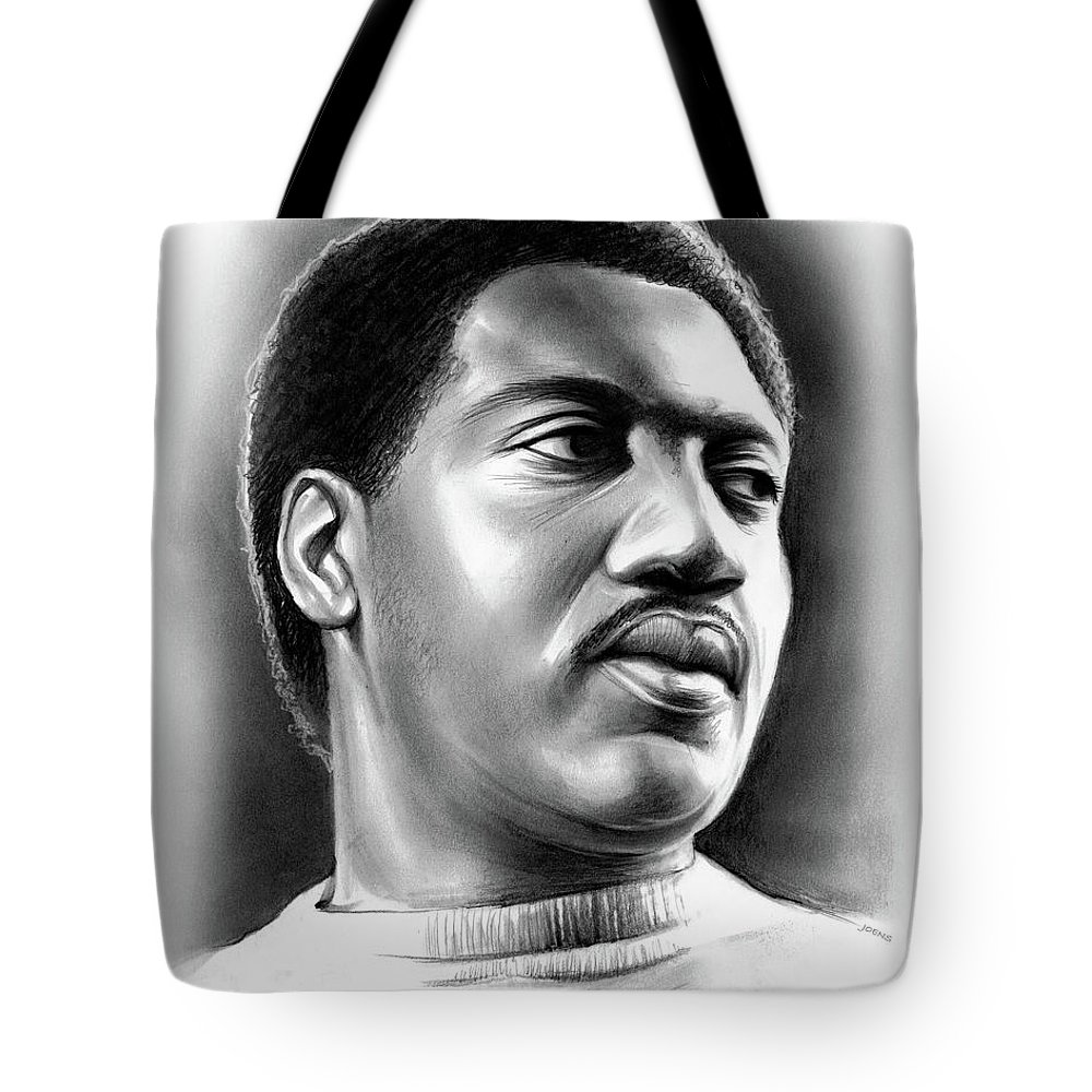 Otis Redding Tote Bag featuring the drawing Otis Redding by Greg Joens