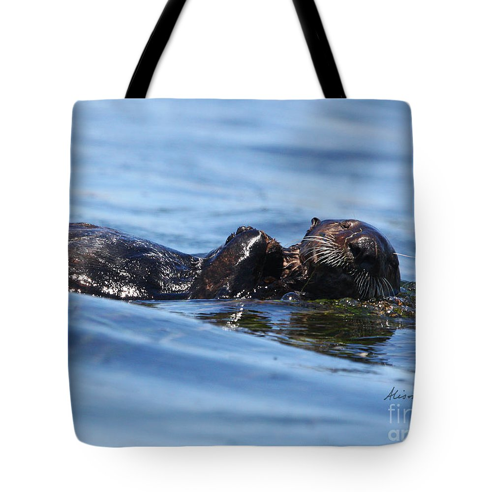 Otter Tote Bag featuring the photograph Otter Bliss by Alison Salome