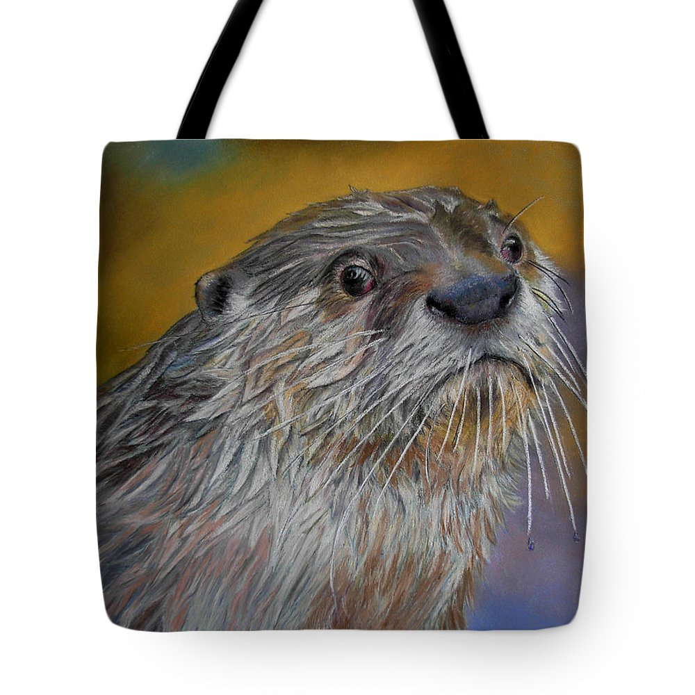 River Otter Tote Bag featuring the painting Otter Or Not by Ceci Watson