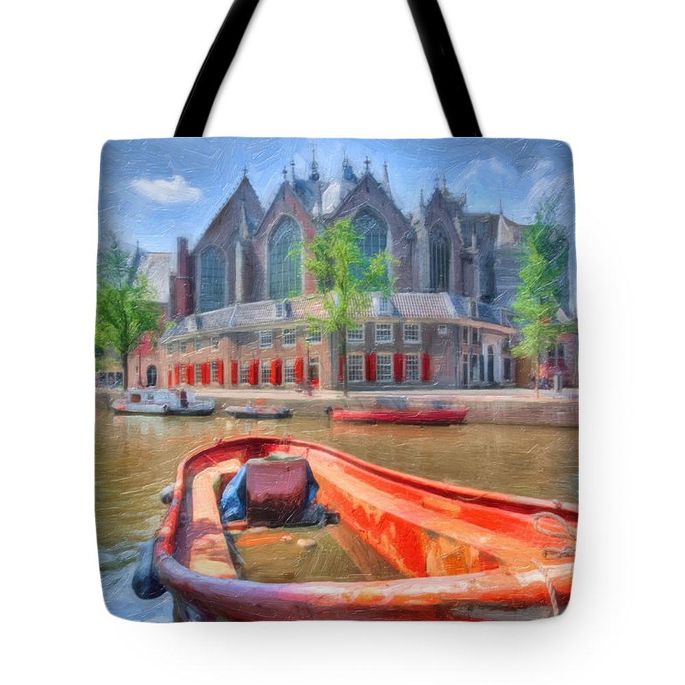Amsterdam Tote Bag featuring the photograph Oude Kerk by Nadia Sanowar